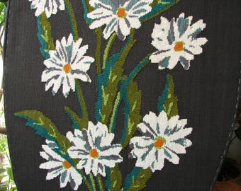 vintage French daisies, large,oval floral tapestry, needlework, embroidered panel stapled onto card