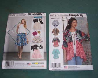 Simplicity 8172 or Simplicity 8176..Misses Tops..Kimonos..Misses Skirts in Three Lengths..New for Summer 2016...Uncut..Stylish Jacket Top..