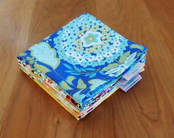 Blue, Yellow, Peach, Pink Cocktail Napkins with Birds, Flowers, Lunchbox Napkins, Mix and Match, La Paloma, Little Azalea