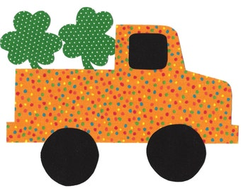 Iron on truck with shamrocks - St Patricks day iron on applique - holiday applique