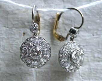 Beautiful Vintage Platinum/ 18K Yellow Gold Diamond Cluster Earrings - 2.22ct.