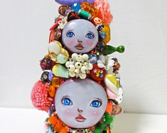 "6.3in Handmade Assemblage Mixedmedia Art Doll ""MATO-chan"""