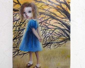 "Original Small Painting ""Waving Orange"" Girl Tree Orange"