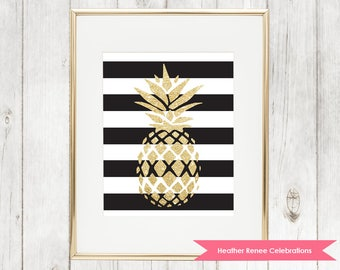 Gold Pineapple Wall Art | Black and White Stripes | Pineapple Themed Decor Instant Download