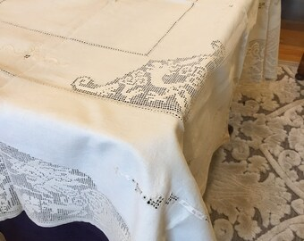 "Antique Vintage Lace Tablecloth. Victorian Table Cover in 100 Percent Cotton size 48""  Square. Insets of Net Lace."