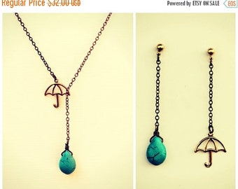 HOLIDAY SALE umbrella necklace with matching earrings, turquoise necklace, rain necklace,umbrella earrings, necklace earrings set