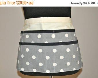 ON SALE Utility Apron, Womens Vendor Apron, Teacher Apron, Carpenter Apron, polka dot apron, gray apron, grey apron, gray polka dot apron