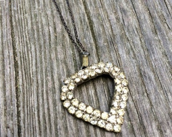 vintage rhinestone HEART pendant necklace