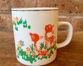 Vintage Mug, Sweet Fawns in Flowers, 1960's