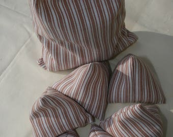 Set of 6 Handmade Sewing Pattern Weights with Complimentary Matching Storage Bag in Terracotta and White Stripe Cotton Fabric