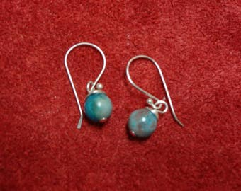 Turquoise Wire Wrapped Earrings on Sterling Silver Fishooks