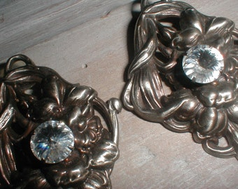 Large Silver Tone Earrings W/Rhinestone Centers *Old World Look* Sculpted Details *Dramatic Design*