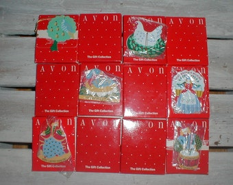Avon *The Gift Collection* Twelve Days Of Christmas Ornaments *In Boxes* Complete Set!