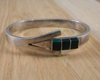 Vintage Sterling Silver and Malachite Mexican Bracelet / Green Stone Cuff / Heavy Sterling Silver Hinge Bracelet