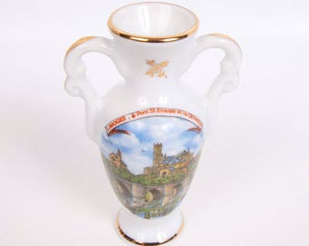 Vintage Limoges Urn Miniature Double Handled Vase Mini Ewer Made in France Cathedral St Etienne Hand Painted Porcelain