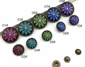 The Aurora Dazzle colour Brass Snap Button Set,  Glass Cabochon 18mm/28mm Round, antique bronze 10 Styles for choice-(4 Sets) (FN128)