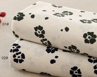 Bamboo texture Cotton Linen Fabric, Flower Fabric,Printing and dyeing, Off White Cotton Linen Fabric 1/2 Yard (QT1161)