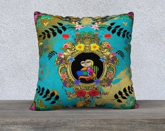 Funky Picassos, Flowers Blue and Gold Pillow Cover