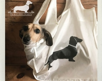 Doxie. Tote Bag -- (Reusable, Shopping Bag, Bag, Dog Bag, Dog, Cute, Dachshund, Vintage-Style, Weiner Dog, Rustic, Eco Chic, Christmas Gift)
