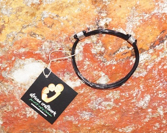 African Elephant Hair Bracelet - 2 Knot Thin BLACK METAL/Stainless Steel Knots made in Zimbabwe ships from USA.