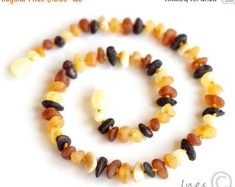 CHRISTMAS SALE Raw Unpolished Baltic Amber Baby Teething Necklace Multicolor Beads 111