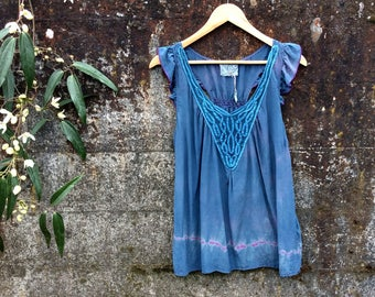 Indigo dyed Silk blouse, size Small, indigo silk top