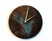 Wall Clock, Patina, Rustic Clock, Industrial Chic Home Decor, Home and Living, Clocks