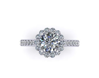14k white gold moissanite and diamonds halo engagement ring ,custom design rings,style 137WDM