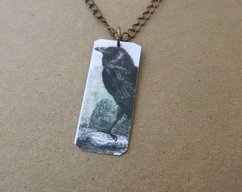 Raven necklace or pendant wearable art Crow jewelry