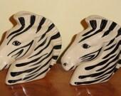 Pair Figural ZEBRA Head Safari Wild Animal Ceramic Wall Pockets Home Decor Accent Accessory