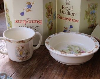 Boxed Royal Doulton Bunnikins mug and Bowl set