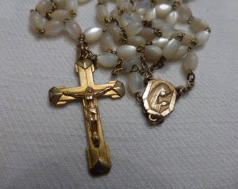 Art Deco, Rosary,  Mother of Pearl, Gold Plated, 5 Decade,  French Vintage.