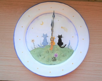 Ceramic / Porcelain Cat Kitty Plate Clock