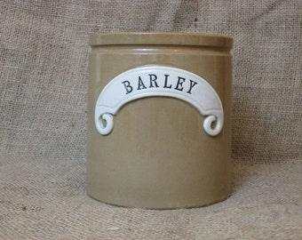 Vintage Stoneware Barley Crock Pot~Jar~Utensils~Kitchen Storage Jar