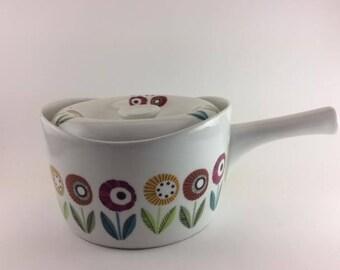 Upsala Ekeby Ignis Bellis Ceramic Saucepan With Lid Made in Sweden Karlskrona Rare