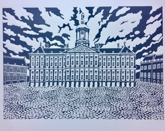 Amsterdam print , linocut of Royal Palace , original art