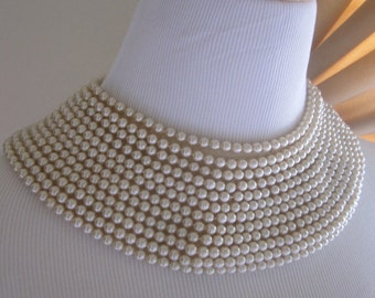 Vintage 1950's Pearl Collar Necklace Cocktail Holiday Wedding