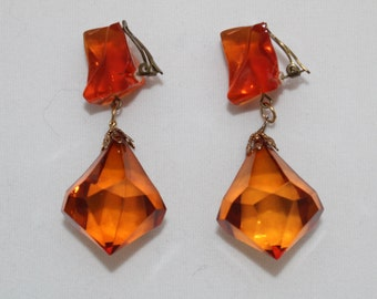 Vintage 1960's Big Chunky Gold Amber Lucite Drop Dangle Go Go Earrings