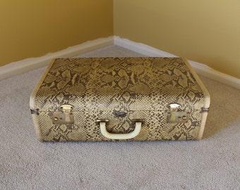 Vintage 1960's Faux Snake Print Python Suitcase Travelaire