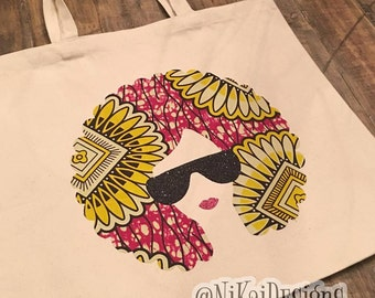 Afro Chick Tote Bag Canvas Tote Planner Tote Girl Boss Tote Bag Ankara Print African Print