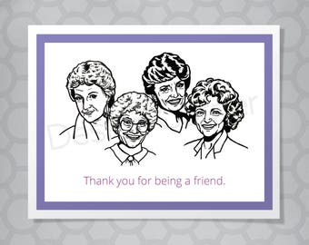 Funny Illustrated Golden Girls Friend Card