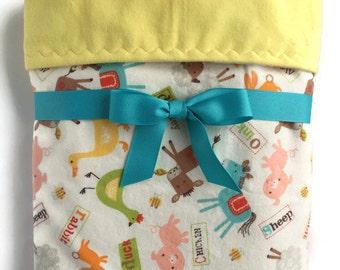 Flannel Baby Blanket - Receiving Blanket - Baby Girl Blanket - Baby Boy Blanket - Cot Blanket - Baby Gifts - Crib Blanket - Farm Baby