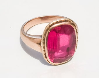 Edwardian Ruby Ring, European Gold 585, 14K Gold, Edwardian Vintage Jewelry