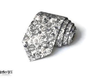 Necktie~Gray Floral~Floral Tie~Anniversary Gift~Wedding Tie~Mens Gift~Boys Necktie~Mens Necktie~Wedding~HoBo Ties~Mens Tie~Boys Tie~