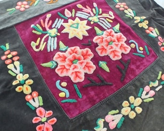 Vintage Hmong baby carrier , Handmade Hand- stitch tapestry textiles, hill tribal fabrics from Thailand