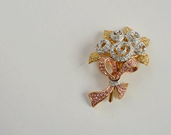 Vintage Swarovski Rhinestone Brooch / Gold Crystal Pink Pave Rhinestone Rose Flower Bouquet Pin Jewelry