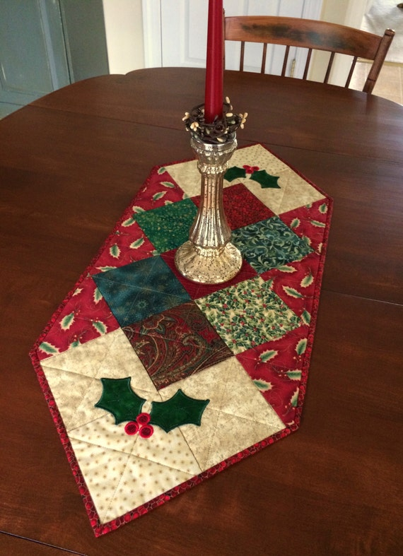 Quilted Holly Christmas Table Runner Holiday Table Topper