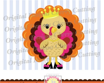 Thananksgiving Princess Turkey,Thanksgiving turkey,Thanksgiving Silhouette & Cricut Cut Files DGCUTTH11 -Personal and Commercial Use