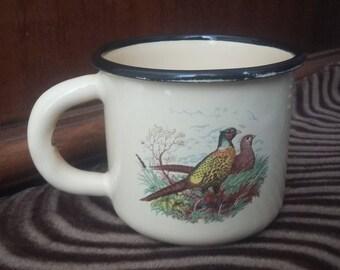 vintage soviet enamel mug cup - cute pheasants - made in the USSR. 80-th