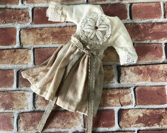 Blythe Doll Dress Vintage lace Antique Tea Stained